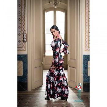 Falda flamenca de baile flamenco de uso profesional y ensayo. Modelo Mirabel crespón.