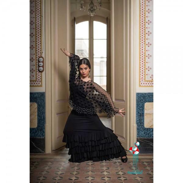 Falda flamenca de baile flamenco de uso profesional y ensayo. Modelo Monroy negro