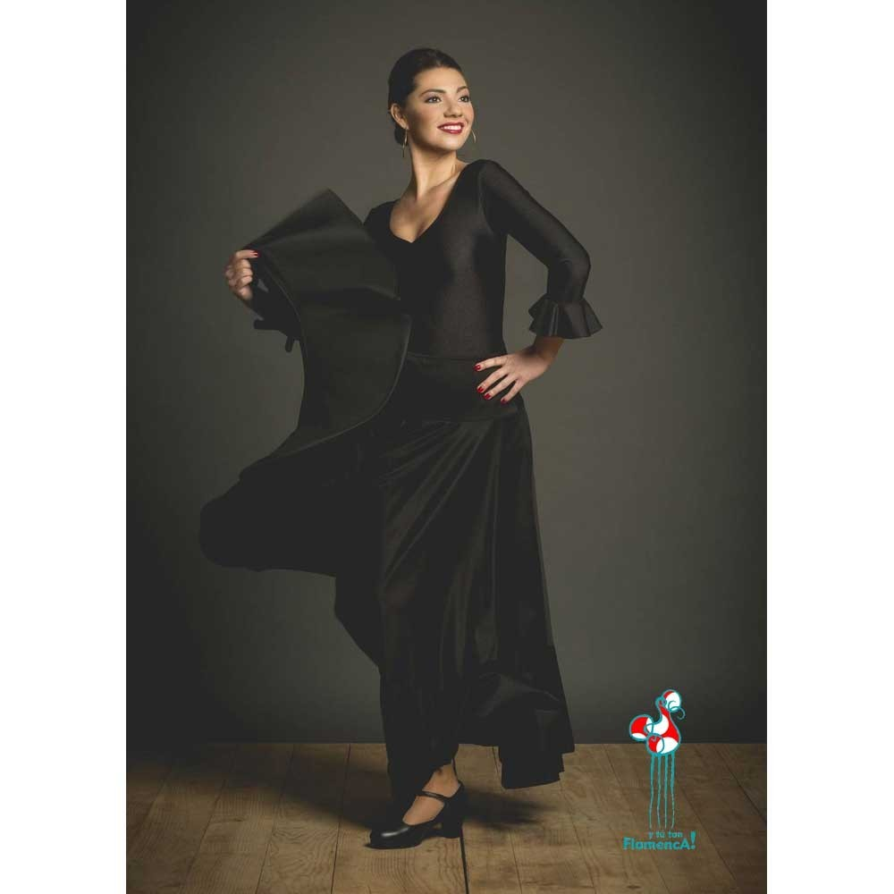 Falda flamenca de baile flamenco de uso profesional y ensayo. Modelo Volante