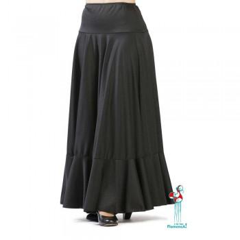 Falda flamenca de baile flamenco de uso profesional y ensayo. Modelo Volante negra
