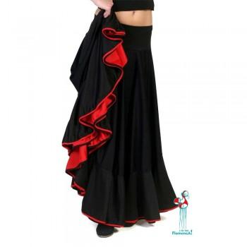 Falda flamenca de baile flamenco de uso profesional y ensayo. Modelo Balboa roja y negra.