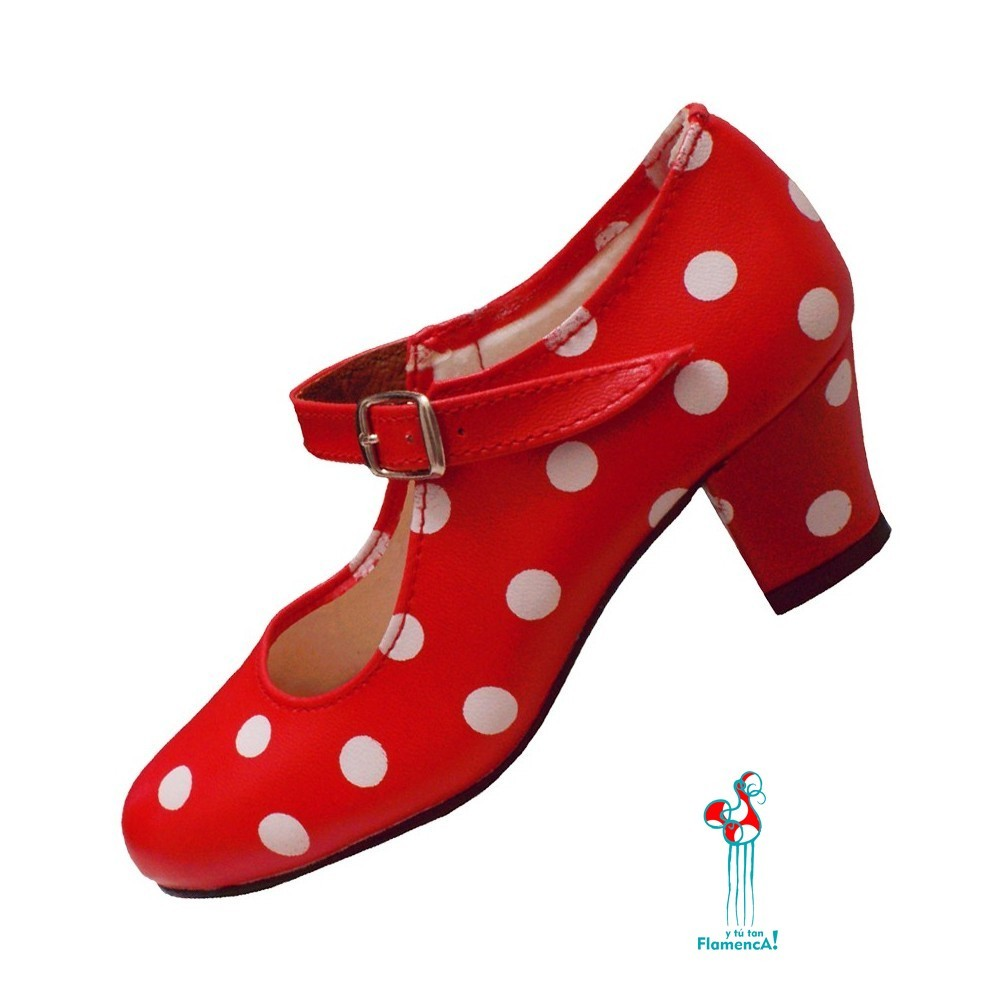 Zapato flamenco rojo lunar blanco