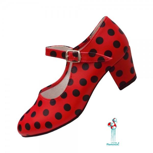 Zapato flamenco rojo lunar negro