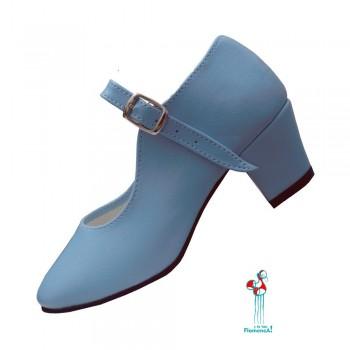 Zapato flamenco. Celeste. De ante