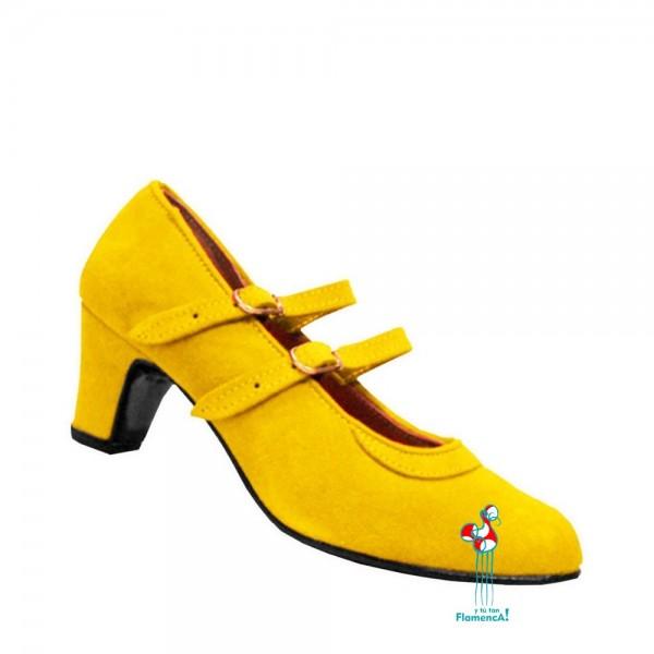 Zapato flamenco amateur amarillo dos correas