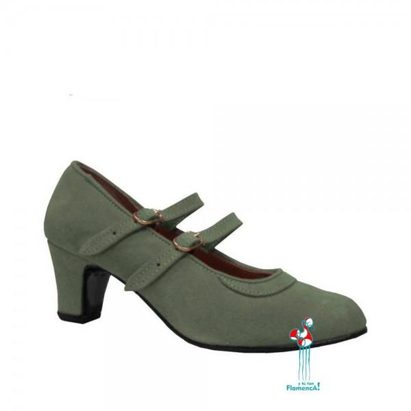 Zapato flamenco amateur gris dos correas