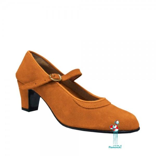 Zapato flamenco amateur marrón claro una correa