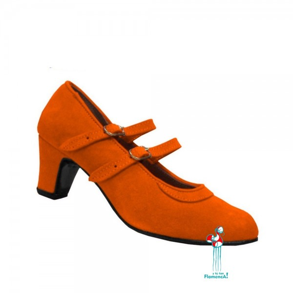 Zapato flamenco amateur naranja dos correas
