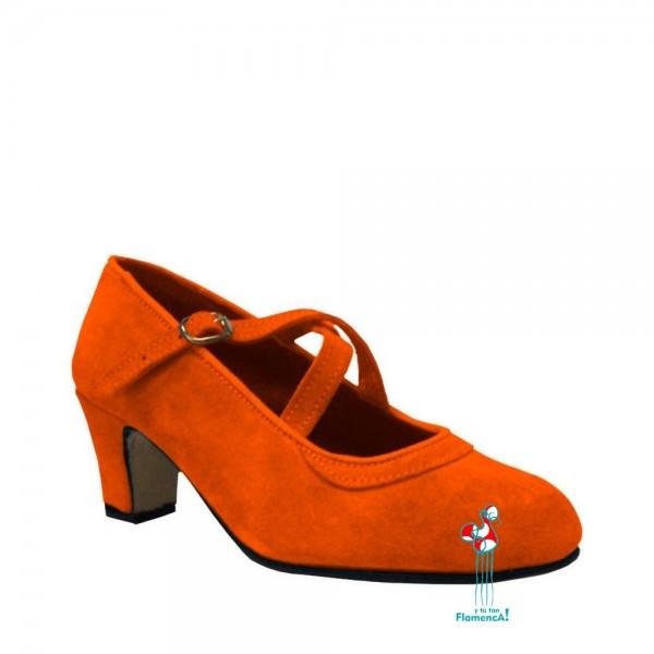 Zapato flamenco amateur naranja correas cruzadas
