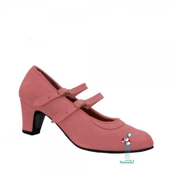 Zapato flamenco amateur rosa dos correas