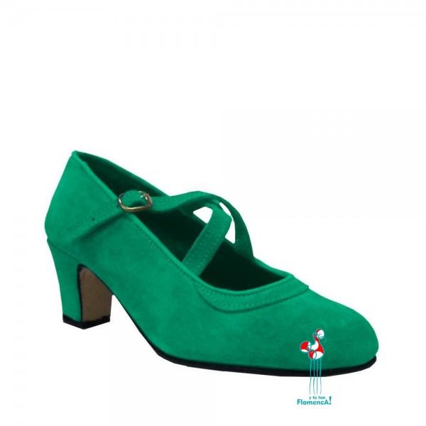 Zapato flamenco correas cruzadas verde