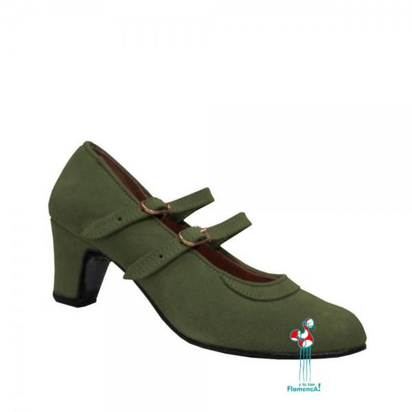 Zapato de flamenca con dos correas de piel verde militar