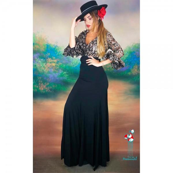 Falda de ensayo de flamenca negra y camisa negra y oro