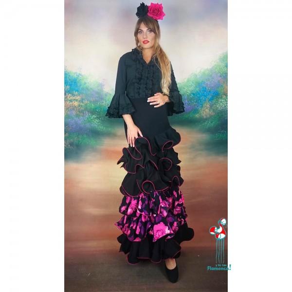 Camisa flamenca negra manga larga